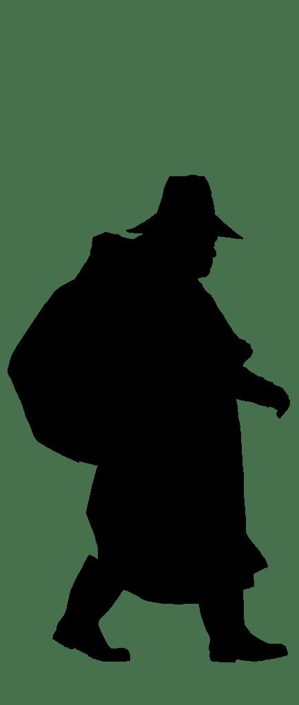 walking silhouette lady