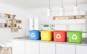 An image of recycling boxes in the kitchen.